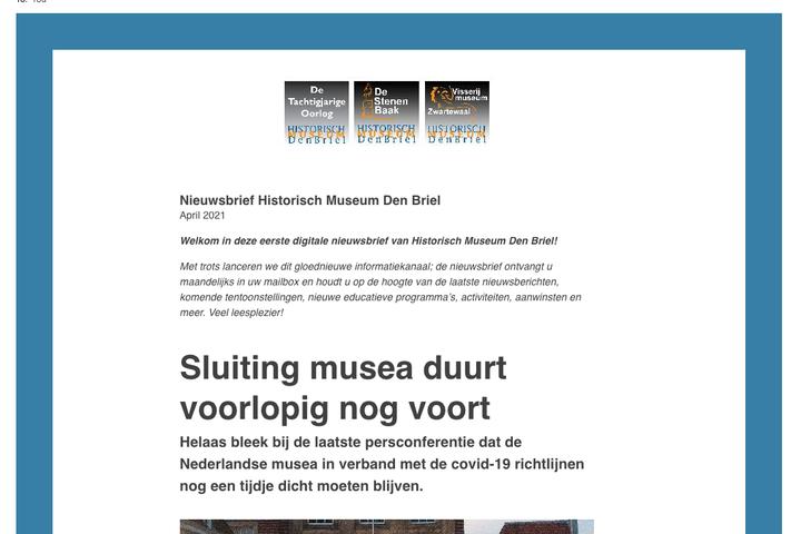 Eerste digitale nieuwsbrief Historisch Museum de digitale deur uit